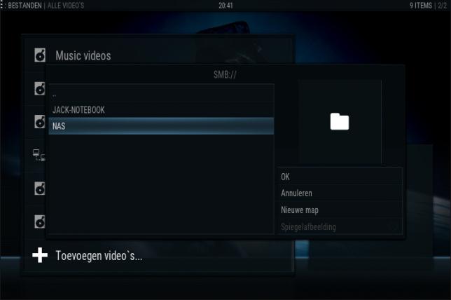 kodi instellen: video bestanden toevoegen NAS