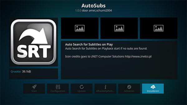 AutoSubs addon installeren in Kodi
