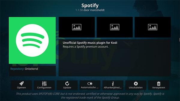 Spotify - beste Kodi addon voor muziek streamen